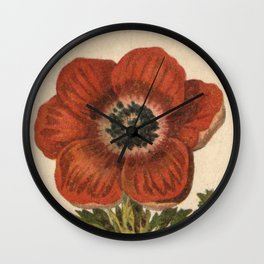 1800s Encyclopedia Lithograph of Anemone Flower Wall Clock