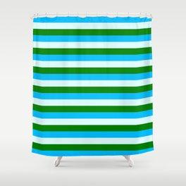 Deep Sky Blue, Light Cyan, and Green Lined Pattern Shower Curtain
