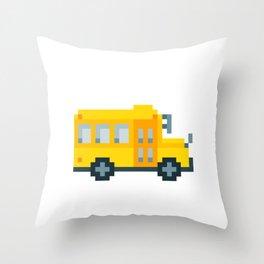 Pixel School Bus Throw Pillow