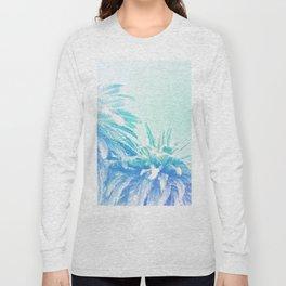 Dreamy and Fresh Palm Blues - Blue and Aqua Long Sleeve T-shirt