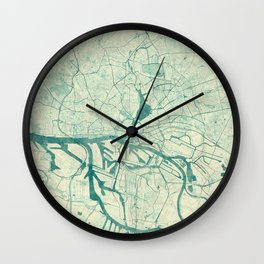 Hamburg Map Blue Vintage Wall Clock