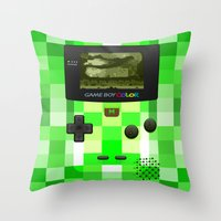 warcraft Throw Pillows featuring Gameboy Color Green Creeper by Veylow