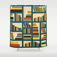 library Shower Curtains featuring library by vitamin