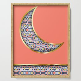 Patterned crescent on living coral pink Serving Tray