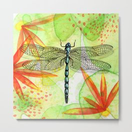 Dragonfly Lilly Art (Watercolor & Ink) Metal Print