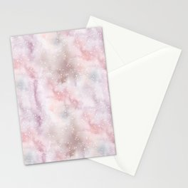 Mauve pink lilac white watercolor paint splatters Stationery Cards