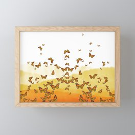 Monarch Butterflies on Watercolor Ombre Background Framed Mini Art Print