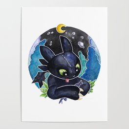 Baby Toothless Night Fury Dragon  Watercolor white bg Poster