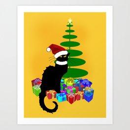 Christmas Le Chat Noir With Santa Hat Art Print