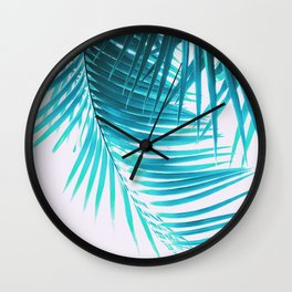 Palm Leaves Turquoise Summer Vibes #1 #tropical #decor #art #society6 Wall Clock