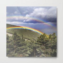 """Two rainbows"". At the mountains.... Metal Print"