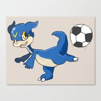 digimon Canvas Prints featuring Digimon - V-mon by Hacha