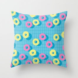 Summer rubber rings in swimming pool Throw Pillow