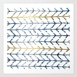 Indigo Gold Herringbone Pattern Art Print