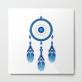 Blue dream catcher illustration Metal Print