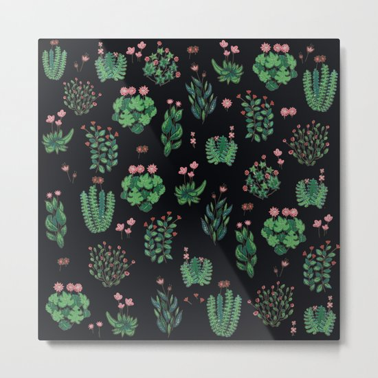 green and black garden with red flowers Metal Print