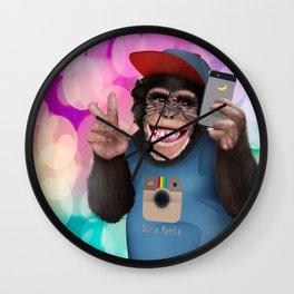 Selfie monkey Wall Clock