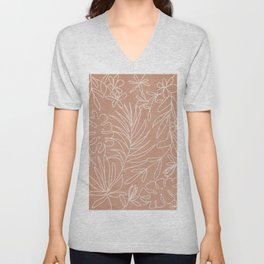 Engraved Tropical Line Unisex V-Neck