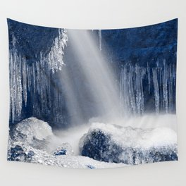 Stream of Blue Frozen Hope Wall Tapestry