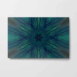 Blue Green Marine Flower Metal Print