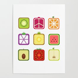 Squared Fruits Poster