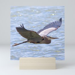 Watercolor Bird Great Blue Heron 01, Pella Crossing, Longmont, CO Mini Art Print