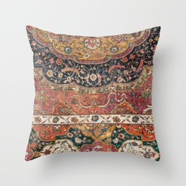 Persian Medallion Rug IX // 16th Century Distressed Red Green Blue Flowery Colorful Ornate Pattern Throw Pillow