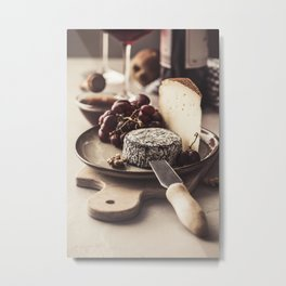 Red wine and cheese plate Metal Print