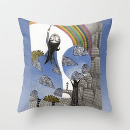 Rainbow Mine Throw Pillow