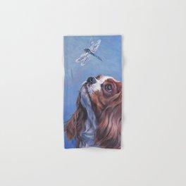 Beautiful Blenheim Cavalier King Charles Spaniel Dog Painting by L.A.Shepard Hand & Bath Towel