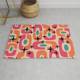 Mid Century Modern Cosmic Abstract 352 Magenta Orange Turquoise Black and Beige Rug