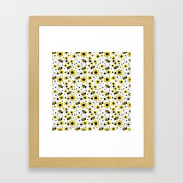 Honey Bumble Bee Yellow Floral Pattern Framed Art Print