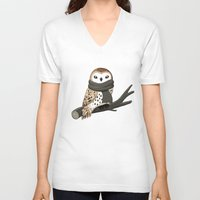 brown V-neck T-shirts featuring Winter Owl by Freeminds
