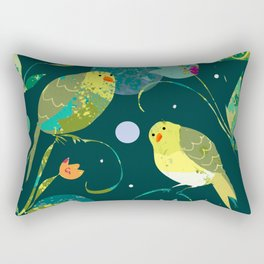 Pea Green Birds on Dark Teal Background Rectangular Pillow