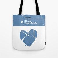 edward scissorhands Tote Bags featuring Edward Scissorhands by Bubblegum Prints
