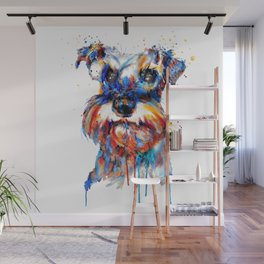 Schnauzer Head Watercolor Portrait Wall Mural