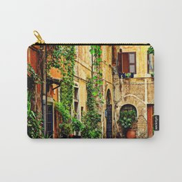 Vintage street in Rome, after Rain Carry-All Pouch