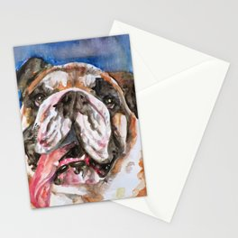 BULLDOG watercolor portrait.5 Stationery Cards