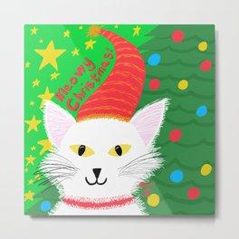 Christmas Cat long white hair yellow eyes Metal Print