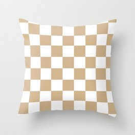 Checkered - White and Tan Brown Throw Pillow