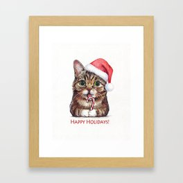 Cat in Santa Hat with Candy Cane Funny Christmas Animal Framed Art Print