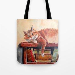 Red cat on a bookshelf Tote Bag
