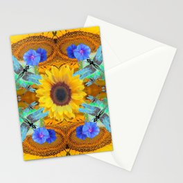 YELLOW SUNFLOWER BLUE DRAGONFLIES ART Stationery Cards