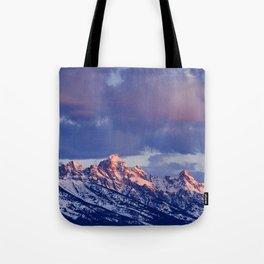0117 - Sunrise on the Tetons, Wyoming Tote Bag