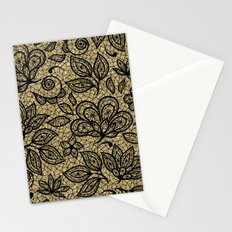 Black and Gold Lace Effect Floral Stationery Cards