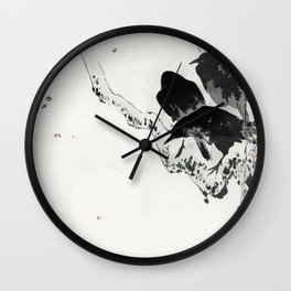 Vintage Japanese Illustration Of 3 Black Crows On Branch Wall Clock