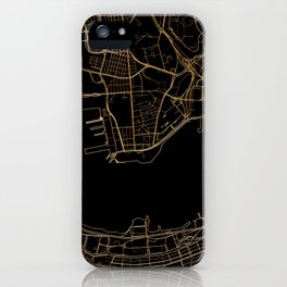 Black and gold Hong Kong map iPhone Case
