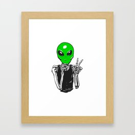 Skeleton with et mask Framed Art Print