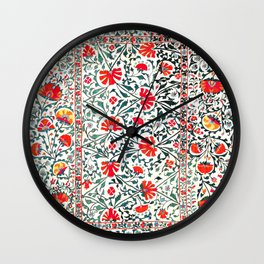 Floral Pattern Tapestry II // 18th Century Colorful Green Yellow Orange Red Mint Blue Flower Design Wall Clock