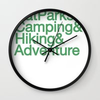 parks Wall Clocks featuring National Parks & Hiking & Camping & Adventure by New Rustic Future